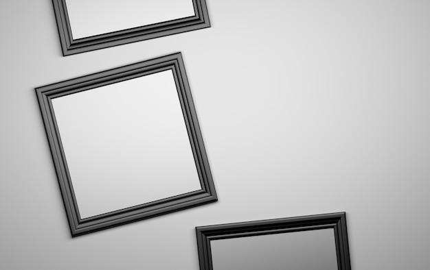 Fond de trois cadres de photo noir