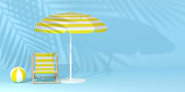 Fond tropical avec parasol et ombre de palmier