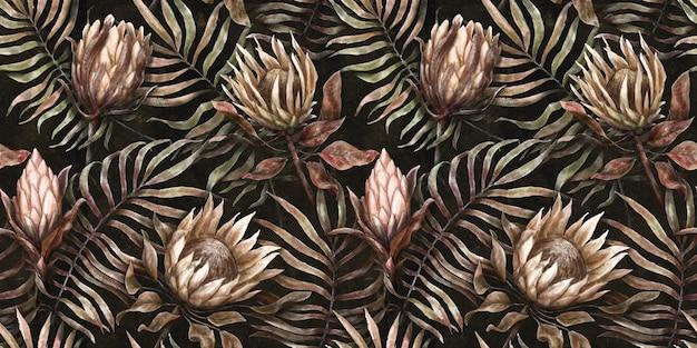 Fond tropical sans couture avec des fleurs de protéa feuilles de palmier illustration aquarelle