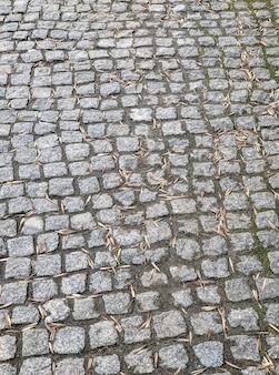 Fond des tuiles de trottoir couvertes de feuilles séchées