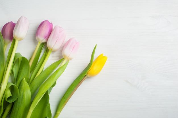 Fond de tulipes jaunes roses rouges