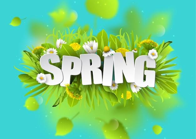 Fond de typographie florale de printemps avec des pissenlits et des camomilles