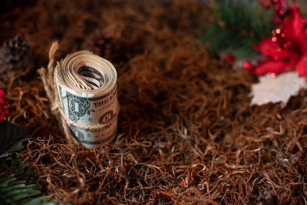Fond de vacances argent noël cadeau dollar