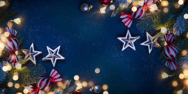 Fond de vacances de noël et du nouvel an. arrière-plan flou bokeh