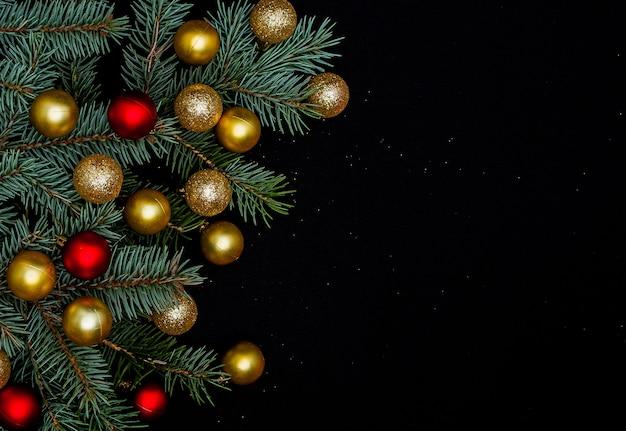 Fond de vacances de noël et du nouvel an avec espace copie, frontière de noël.