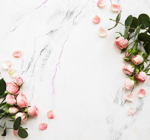 Fond de vacances avec des roses roses
