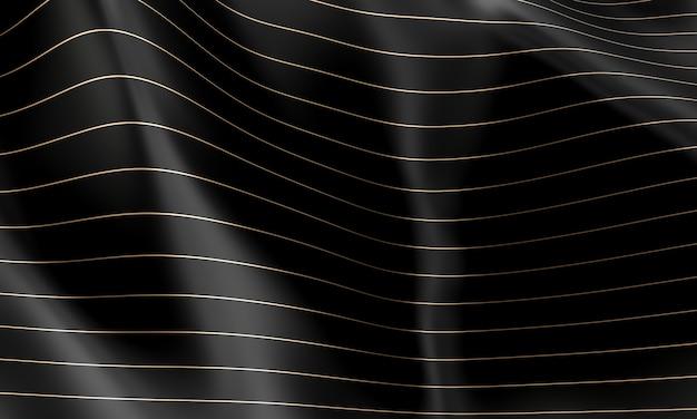 Fond de vague noire avec des lignes horizontales de couleur or.