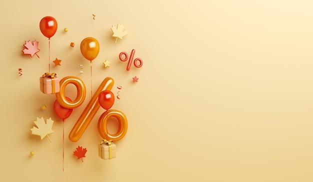 Fond de vente d'automne avec des feuilles d'érable de ballon de symbole pour cent boîte-cadeau