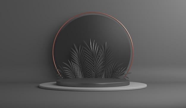 Fond de vente de vendredi noir avec podium d'affichage de feuilles de palmier