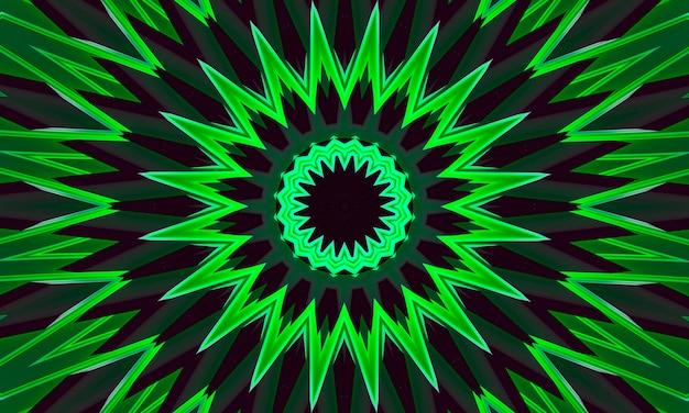 Un fond vert brillant de motif kaléidoscope floral