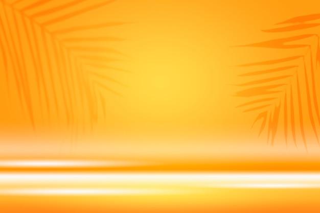 Fond vibrant avec la silhouette des feuilles tropicales