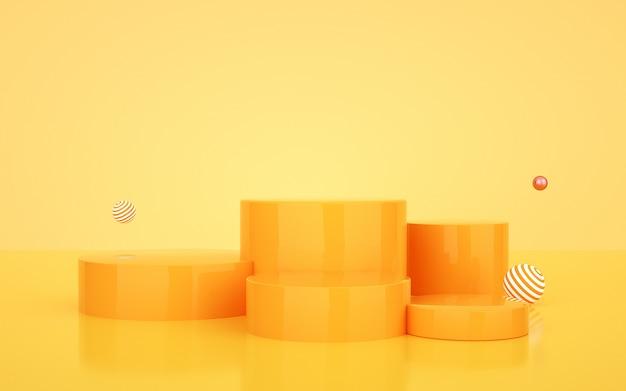 Fond vide d'affichage de produit de podium jaune