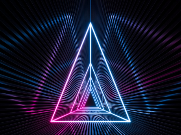 Fond vide sombre de science-fiction futuriste avec des néons bleus et violets. rendu 3d