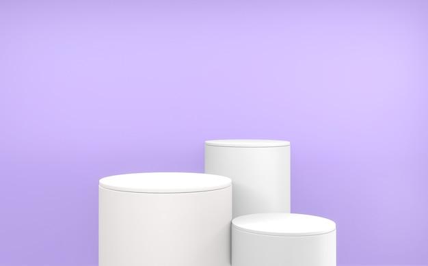Le fond violet et les podiums blancs présentation du produit géométrique. rendu 3d