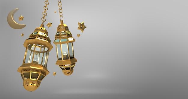 Fond de voeux islamique avec étoile de lanterne en croissant de lune et motif arabe