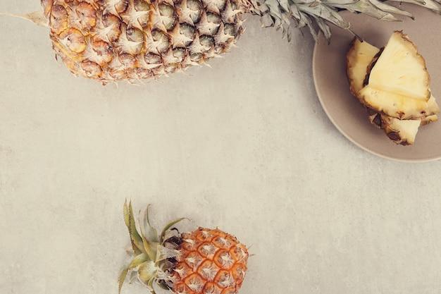 Fond de vue de dessus d'ananas