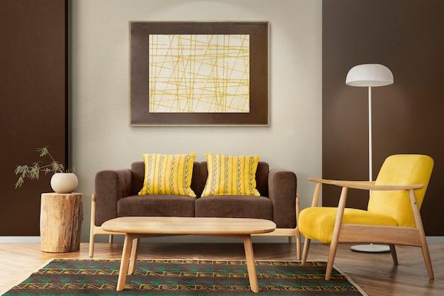 Fond de zoom de design d'intérieur de salon scandinave