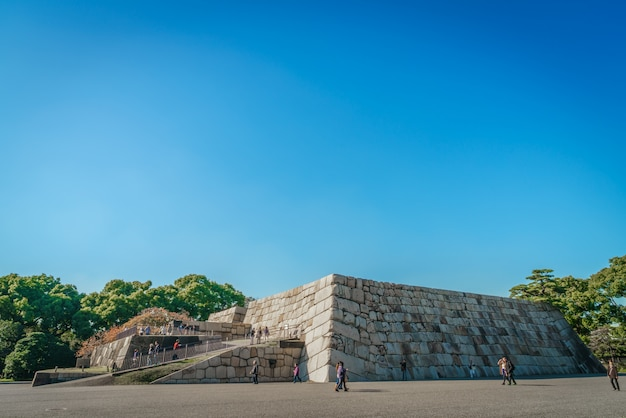 La fondation d'une tour du château du château edo-jo, japon