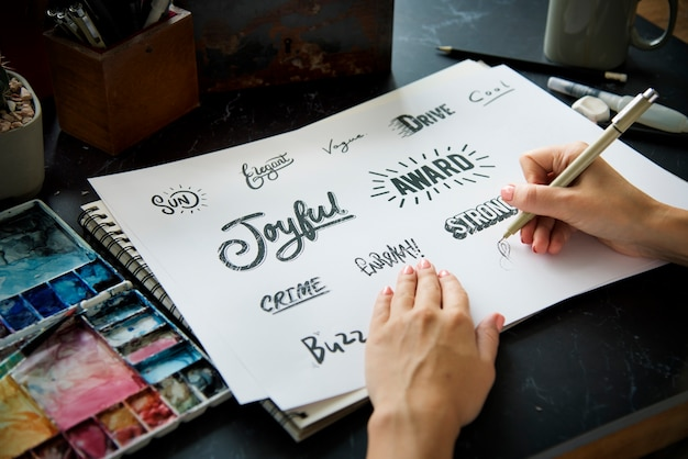 Font illustration design art mots
