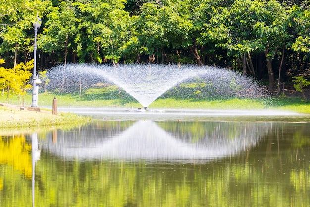 Fontaine dans le parc et le reflet de l'eau