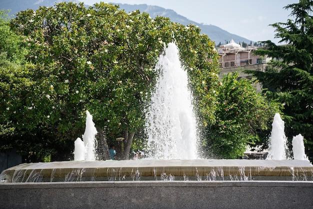 Une fontaine d'eau dans la ville, belle scène de parc d'été