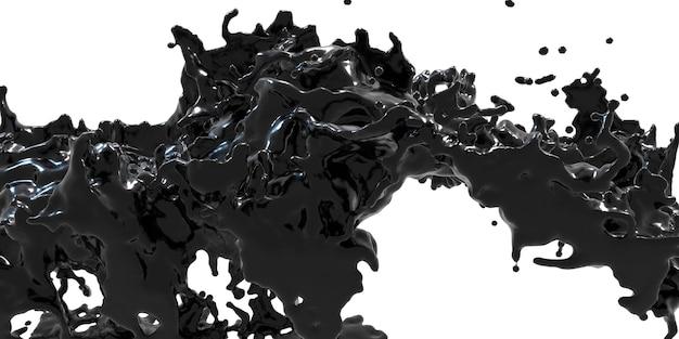 Fontaine, encre diffusée dans l'air abstrait de pétrole brut éclaboussé d'huile illustration 3d