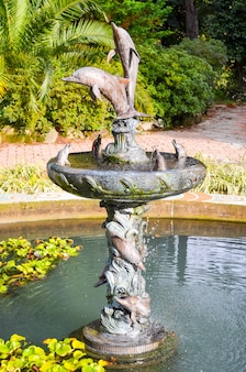 La fontaine pittoresque du jardin botanique. géorgie, batoumi.