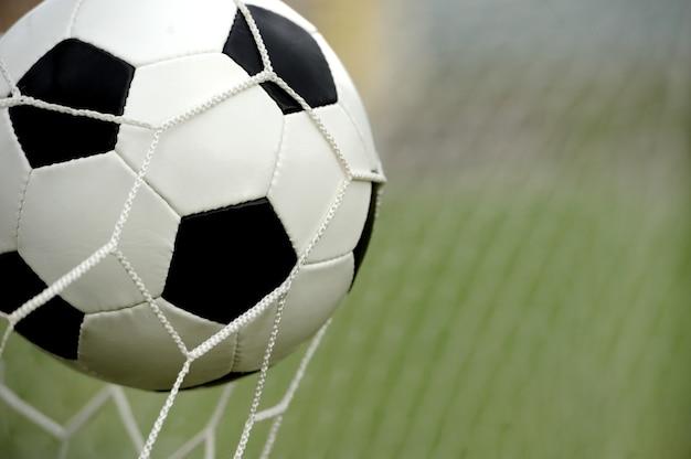 Football. la balle vole dans la porte du filet
