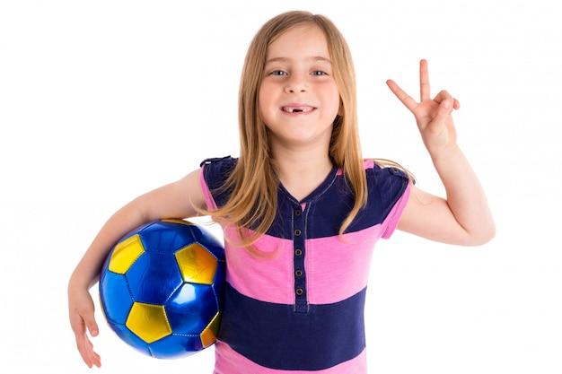 Football football kid fille heureux joueur avec ballon