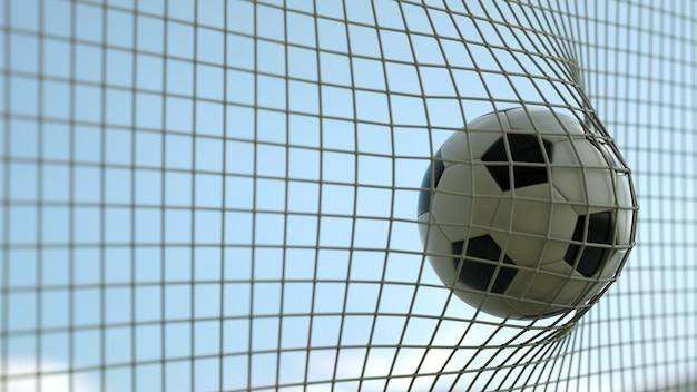 Football sur net au rendu 3d de jour