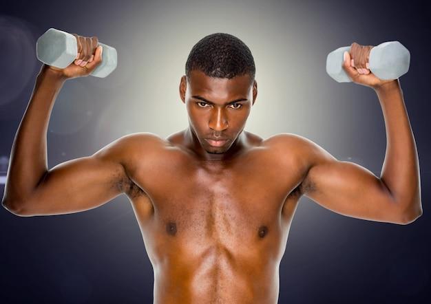 La force en forme de levage biceps fort