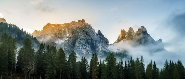 Forêt et chaîne de montagnes au paysage du lever du soleil.