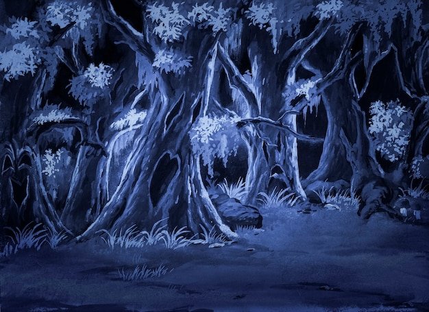 Forêt peinte à l'aquarelle