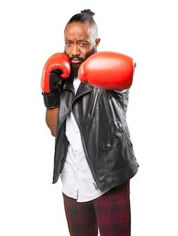 La formation de boxeur concentré