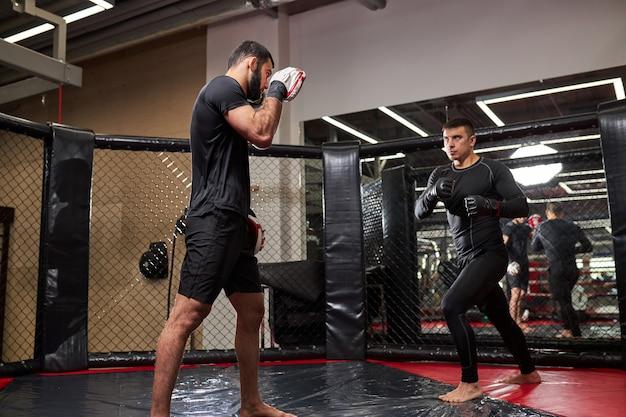 Formation de combattant ou de lutteur fort et confiant avec un combattant professionnel de mma au gymnase dans le ring, se préparant à la compétition ensemble