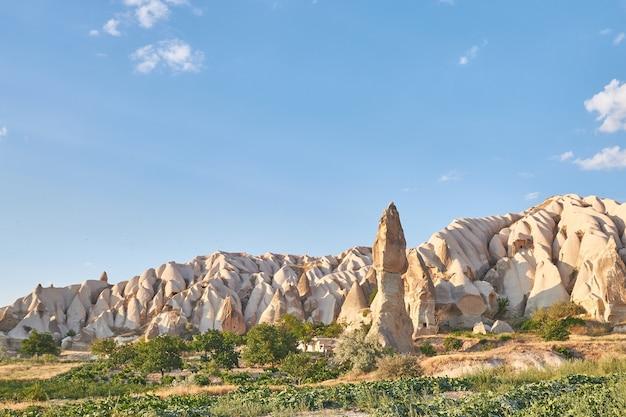 Formations rocheuses dans la vallée des roses capadoccia à göreme, turquie