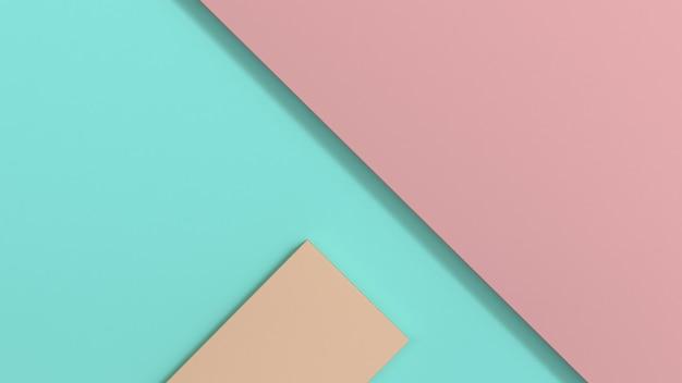 Forme 3d rose vert marron géométrique minimaliste plat rendu 3d