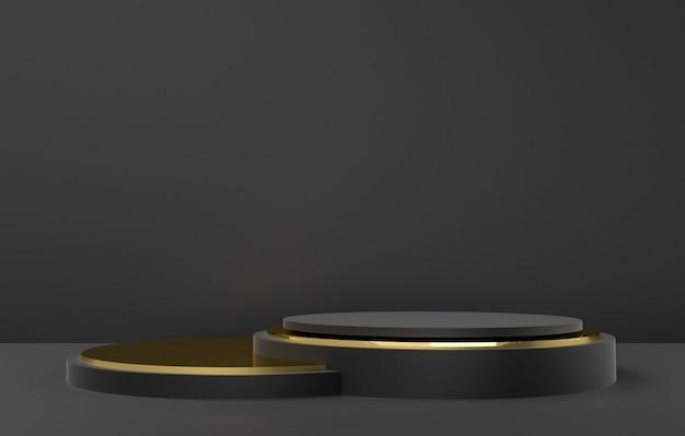 Forme abstraite 3d et géométrie, fond de scène de couleur noir et or.