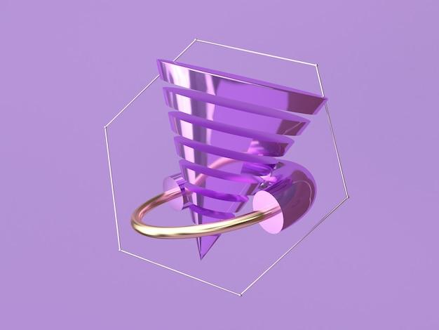 Forme abstraite 3d rendu lévitation violet fond métallique