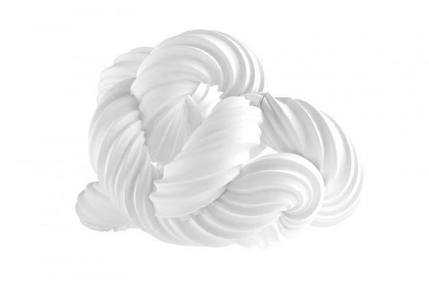 Forme abstraite sur fond blanc. rendu 3d.