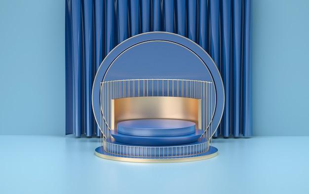 Forme abstraite avec podium doré pour support de produit