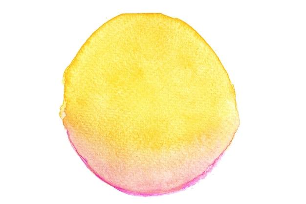 Forme de cercle d'aquarelle rose et jaune peint à la main.