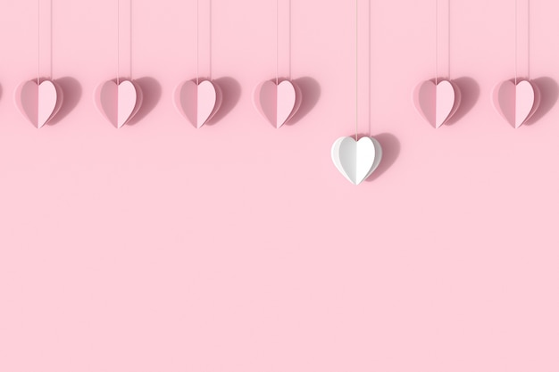 Forme de coeur blanc exceptionnel avec des coeurs roses sur fond pastel rose.