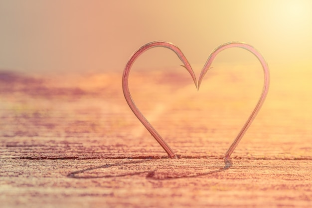 Forme de coeur composée de deux hameçons avec ombres.