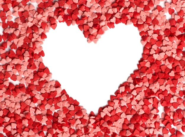 Forme de coeur avec un espace vide pour le texte au centre de la vue de dessus du coeur. fond de saint valentin.