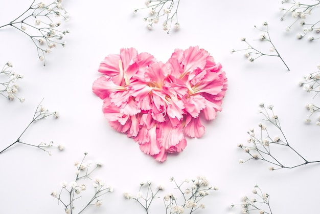 Forme de coeur faite de fleurs sur blanc, pose plate