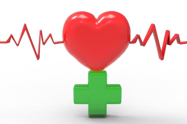 Forme de coeur rouge et pouls avec croix verte