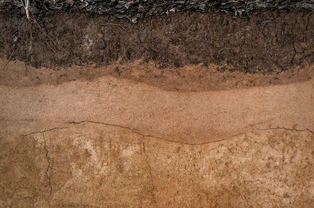 Forme des couches de sol, sa couleur et ses textures, couches de texture de la terre