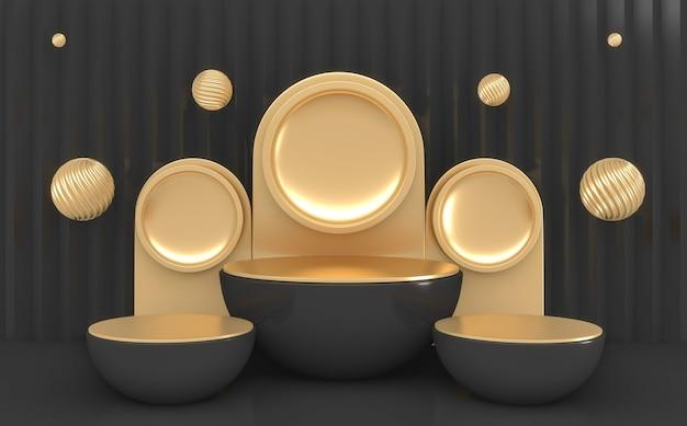 La forme de cylindre sombre minimal podium noir et couleurs or