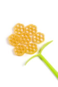 Forme de fleur faite de pâtes italiennes crues isolé sur fond blanc.